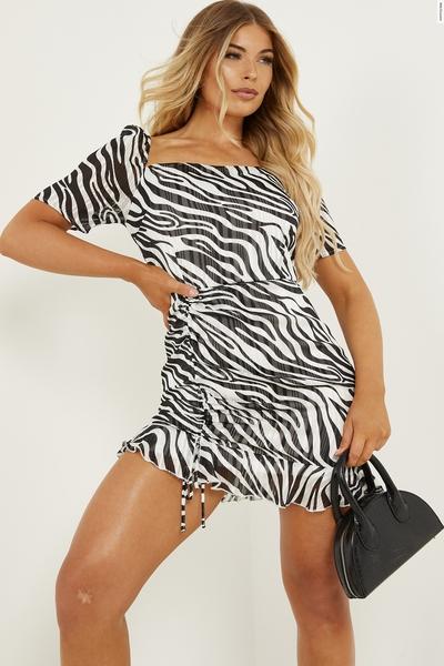 Petite Black & White Zebra Print Dress